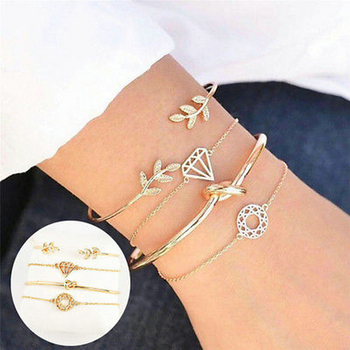 4PCS/Set Fashion Women Girl Leaf  Shape Knot Simple Adjustable Open Hollow Bangle Chain Bracelet Jewelry 1