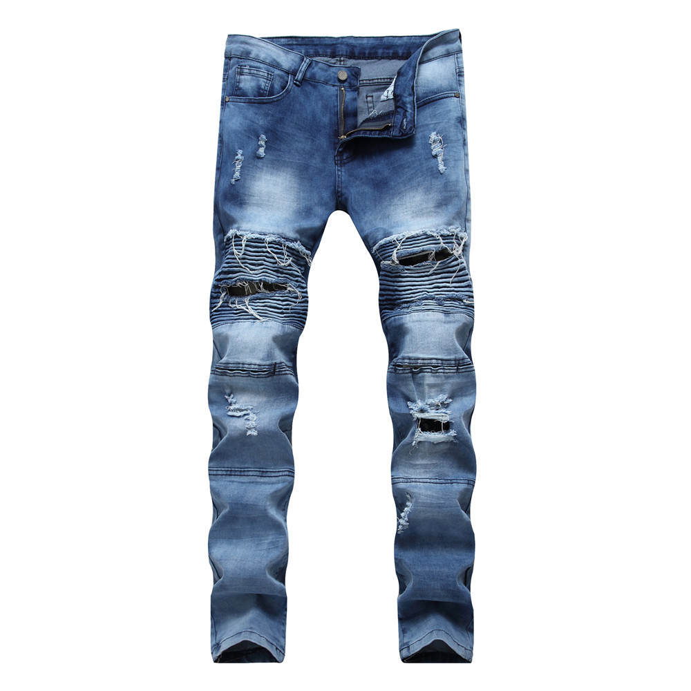 2017 Men Jeans Ripped Denim Pants With Holes Skinny Slim Fit Distressed Biker Black White Blue Jeans Casual Trousers For Male colorful jeans male slim print elastic skinny pants trousers trend pattern male jeans