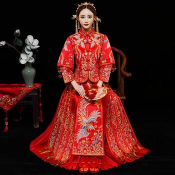 New Fashion Noble Retro Chinese Women Bride cheongsam Dress Long Wedding Qipao Delicate Embroidery Phoenix cheongsam Size S-XXL