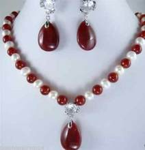 Jewelry Pearl Set Hot sale new Style >>>>>Jewelry White Pearl & Red jade crystal pendants Necklace Earring Set Free Shipping(China)