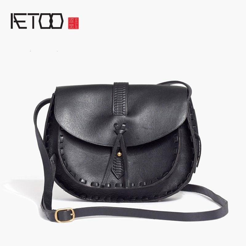 AETOO Fashion saddle bag casual leather handbag first layer leather shoulder bag ladies portable oblique shoulder bag