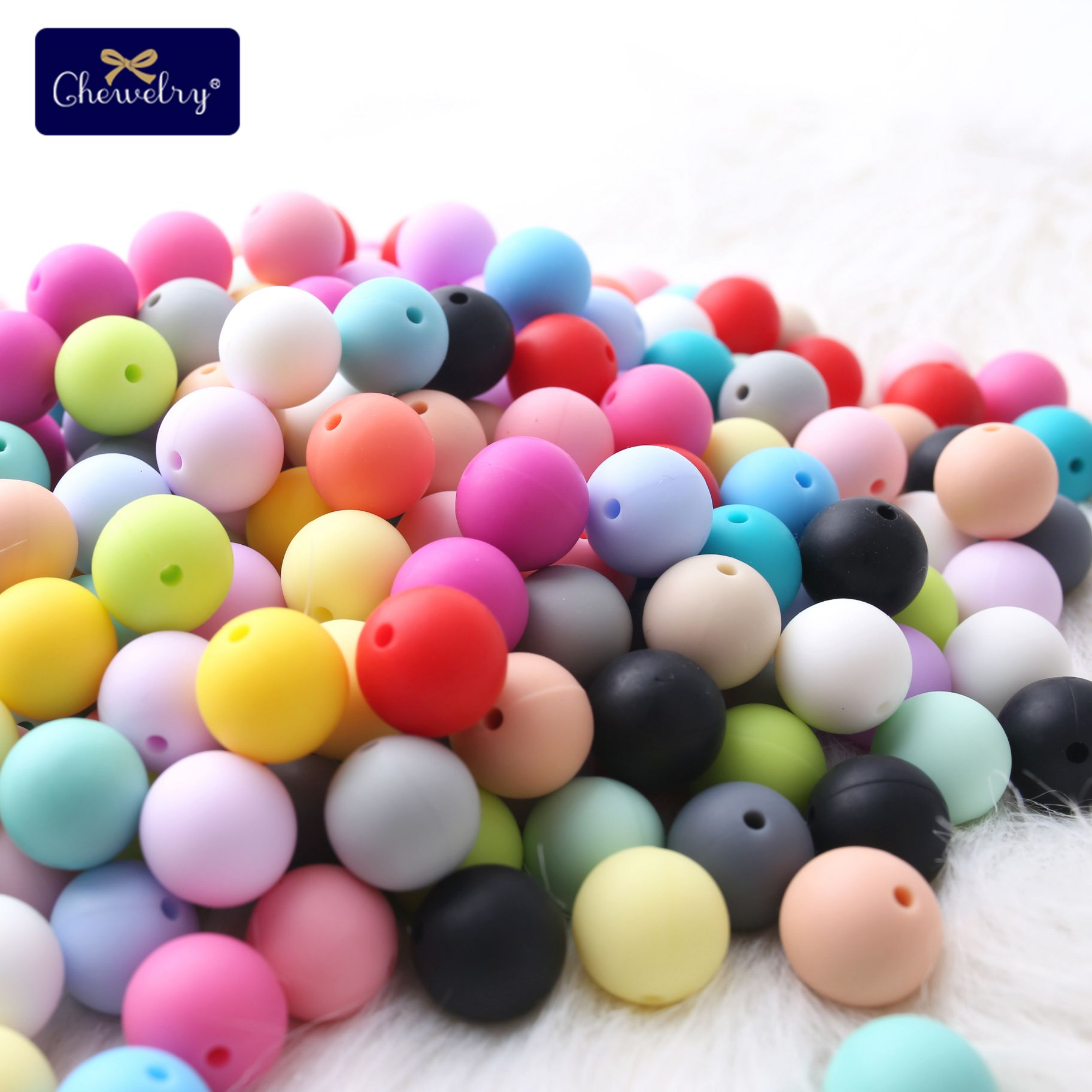 100pc 12mm Baby Silicone Bead Teether Diy For Nursing Necklace Food Grade Silicone Teething Silicone Rodent Pacifier Pendant Toy