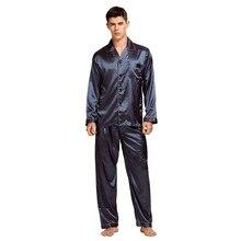 Conjunto de pijama de seda masculino, pijamas sexy de seda cetim macio para homens camisola masculina de verão