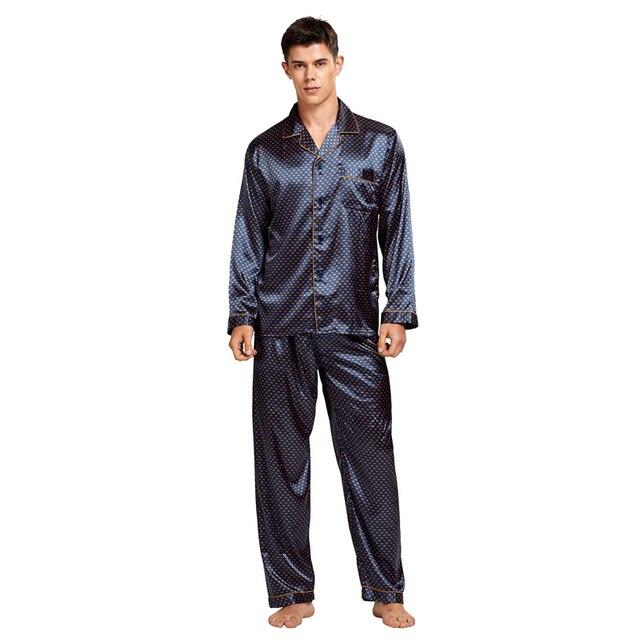 Tony & Candice Nam Vết Bẩn Lụa Pyjama Set Nam Bộ Đồ Ngủ Quần Áo Ngủ Lụa Nam Sexy Hiện Đại Phong Cách Mềm Mại Ấm Cúng Satin váy Ngủ Nam Mùa Hè