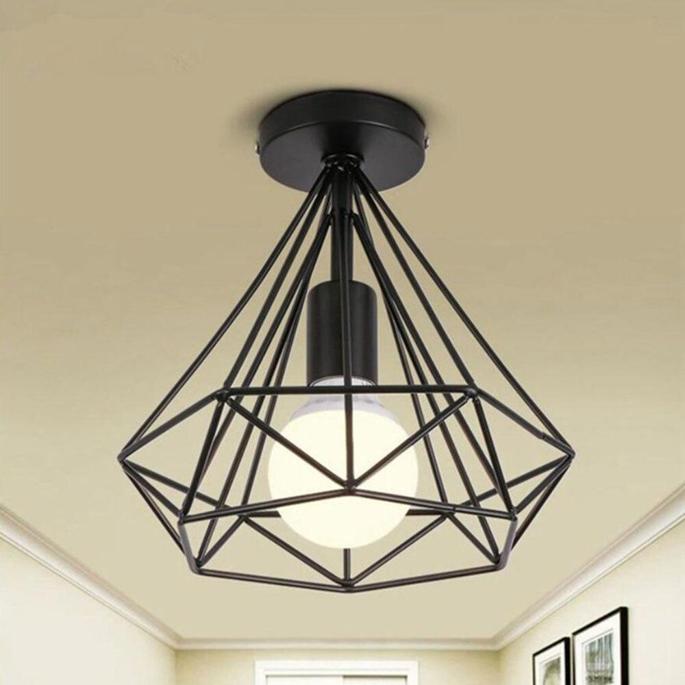 Recessed Ceiling Lights Iron Ceiling Lights Parlor Minimalist E27 Black Fashion Metal Ceiling Lights Romantic Living Room