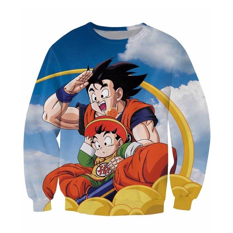 2018 Goku and Gohan Sweatshirt Dragon Ball Z Characters Jumper Women Men Casual Fashion Clothing Tops Sweats