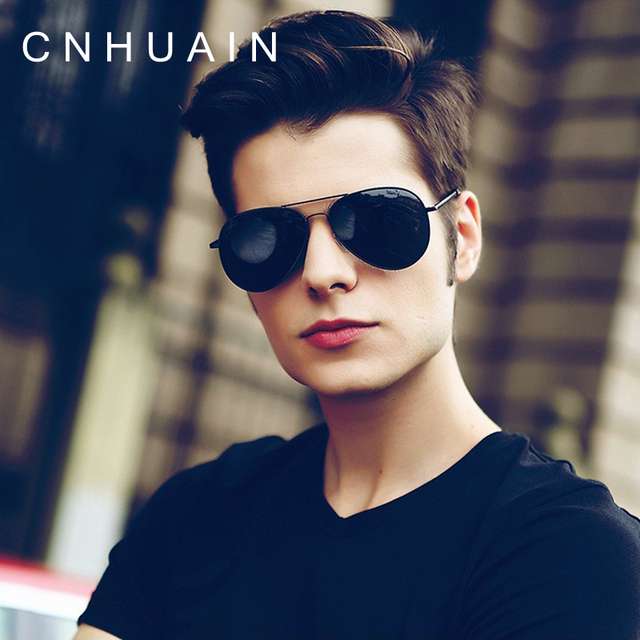 CNHUAIN Men's Sunglasses Brand Designer Day And Night Driving Sun Glasses For Men Women Polarized Coating Metal Vision Goggles