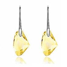 (1 Pair) Lotus Purple/Color White/Crystal Yellow Bright Crystal Hook Earrings For Women Elegant Silver Plated Drop Earrings pair of elegant color block half moon earrings for women