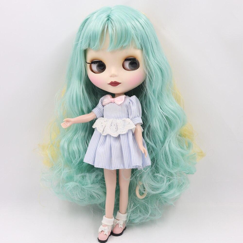 Nude, ale naga lalka Blythe dla serii No.280BL40061200 zielony mix żółty włosy z grzywką 1/6 bjd w Lalki od Zabawki i hobby na  Grupa 3