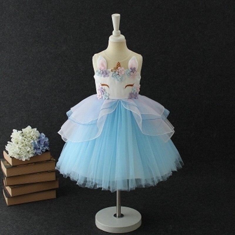 7fab8e59574 Необычные детские Единорог Платье с фатиновой юбкой для девочек ...