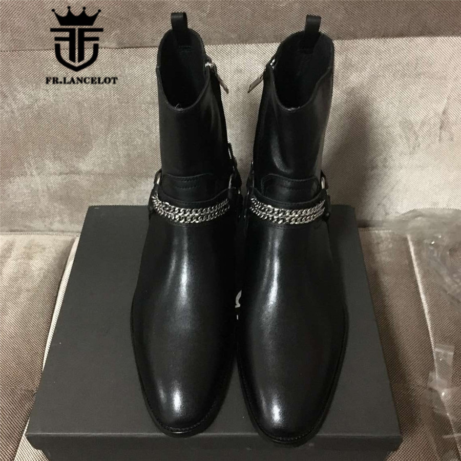 Real Picture High Top Black Genuine Leather Ankle Buckle Strap With Sliver Chain Luxury Men Boots Catwalk Handmade Fashion ShoesReal Picture High Top Black Genuine Leather Ankle Buckle Strap With Sliver Chain Luxury Men Boots Catwalk Handmade Fashion Shoes