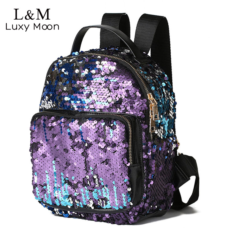 Fashion Small Glitter Backpack Women Silver Sequin Daypack 2018 Mini Teenage Girls Black Leather Backpacks mochila mujer XA129H melodycollection candy color pu leather mini backpack for women girls purse fashion schoolbag mini casual daypack dome backpacks