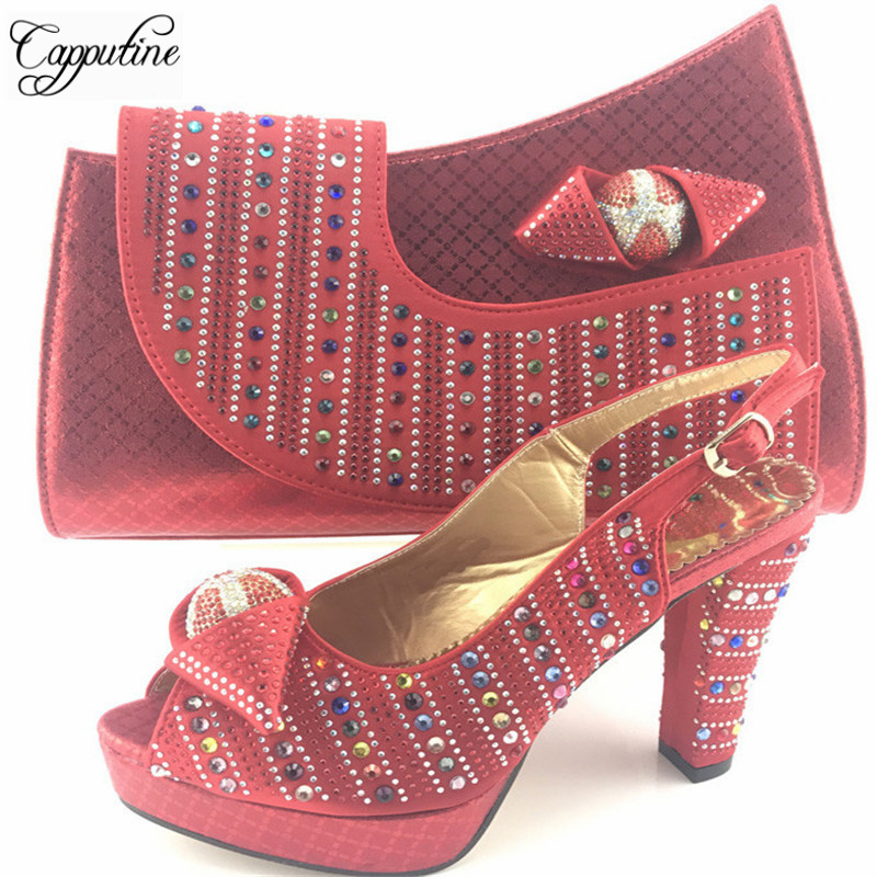 Capputine New Fashion Italian Rhinestone Shoes With Matching Bags African High Heel Women Shoes And Bags Set For Party ME7716 new fashion italian shoes with matching bags for party high quality african shoes and bags set with stones pumps shoes 1308 l60