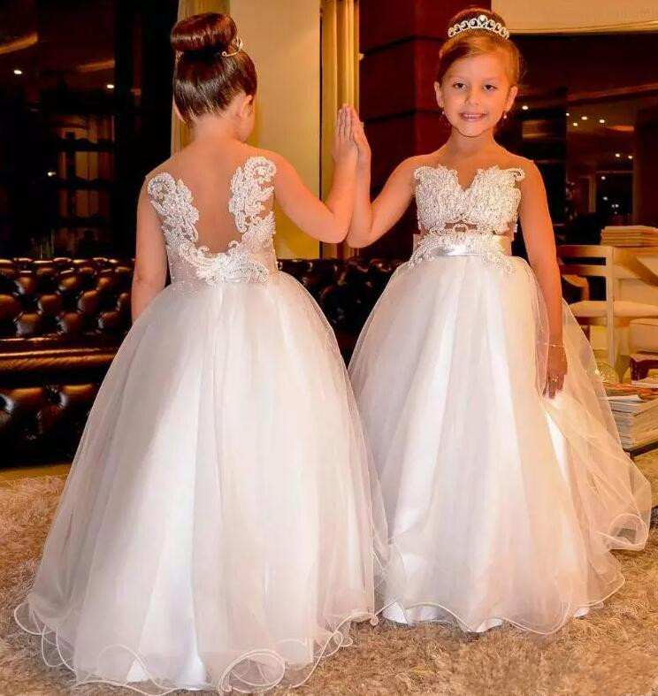 Wedding Flower Girl: 2017 Luxury Flower Girl Dresses Lace Pearls Backless Tulle