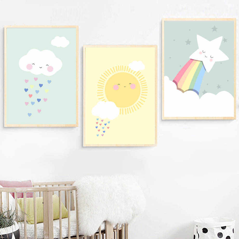 Cloud Sun Rainbow Wall Art Canvas Painting Nordic Posters And Prints Wall Pictures For Kids Bedroom Baby Room Decor(No Frame)