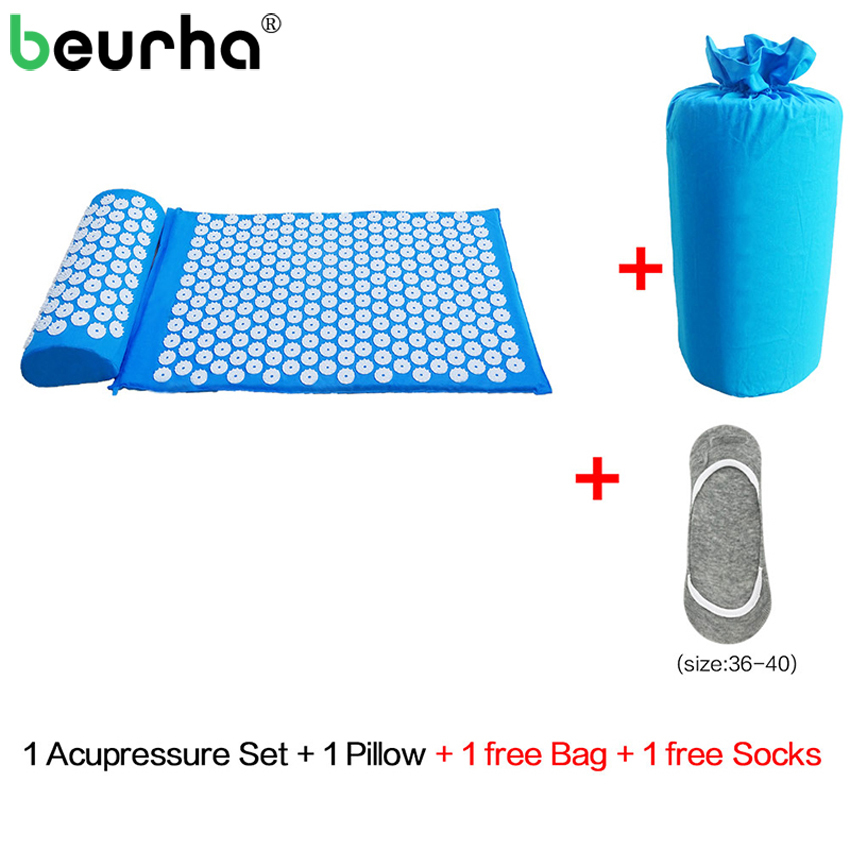 Acupressure Mat Head Neck Back Foot Massage Cushion With Pillow Yoga Spike Mat Anti-stress Acupuncture Needle Massage Pillow Set acupressure mat and pillow set massage mat for natural relief of stress pain tension body head back foot massage cushion mat