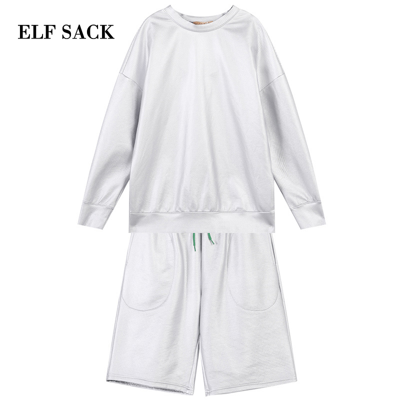 ELFSACK New Woman 2 Pieces Sets Casual Silver O-Neck Full Women Pullover And Elastic Waist Knee Length Female Streetwear Shorts