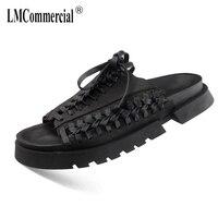 2018 Летний Новый Для мужчин из натуральной кожи сандалии кроссовки Для мужчин тапочки вьетнамки повседневная обувь пляжные открытый все мат
