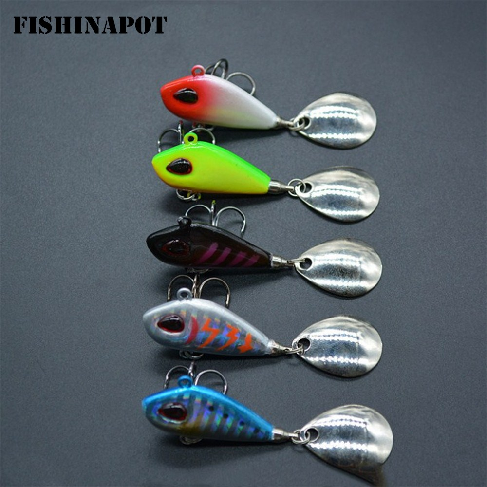 FISHINAPOT 1PCS 6g/10g/17g/25g Metal VIB Fishing Lure Spinner Sinking Rotating Spoon Pin Crankbait Sequins Baits Fishing Tackle vissen spinner spoon metal bait fishin lure sequins crankbait 1 pieces spoon baits for bass trout perch pike rotating fishing