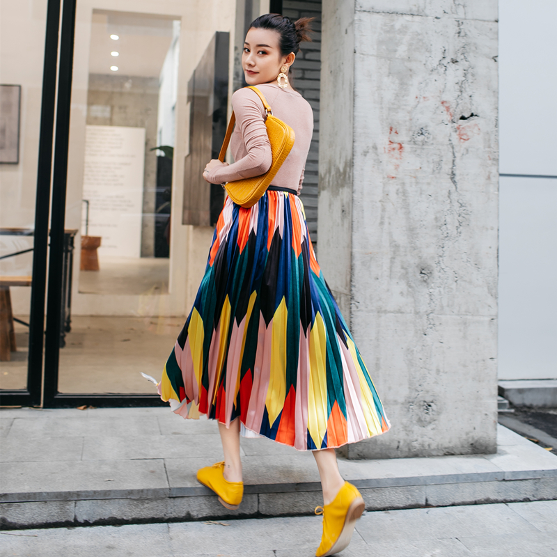 2019 Summer Women's High Waist Pleated Skirt Contrast New Hong Kong Style Retro Fashion Big Swing Skirt Large Size Pleated Skirt