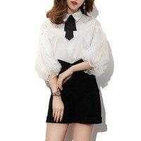 Autumn Women Korean Lolita White Blouse Peter Pan Collar Black Bow Long Bell Sleeve Buttons Blouse