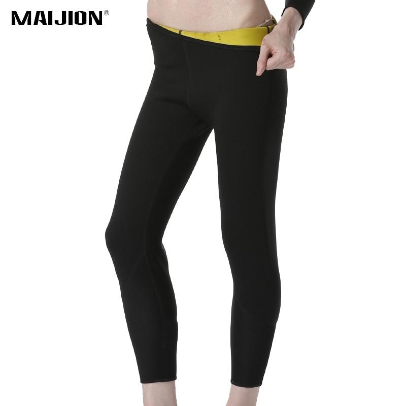 Maijion для женщин; Большие размеры Горячий Пот Неопрена Штаны Спорт Леггинсы для женщин Вес потери живот сжигания жира для похудения трениров... ...