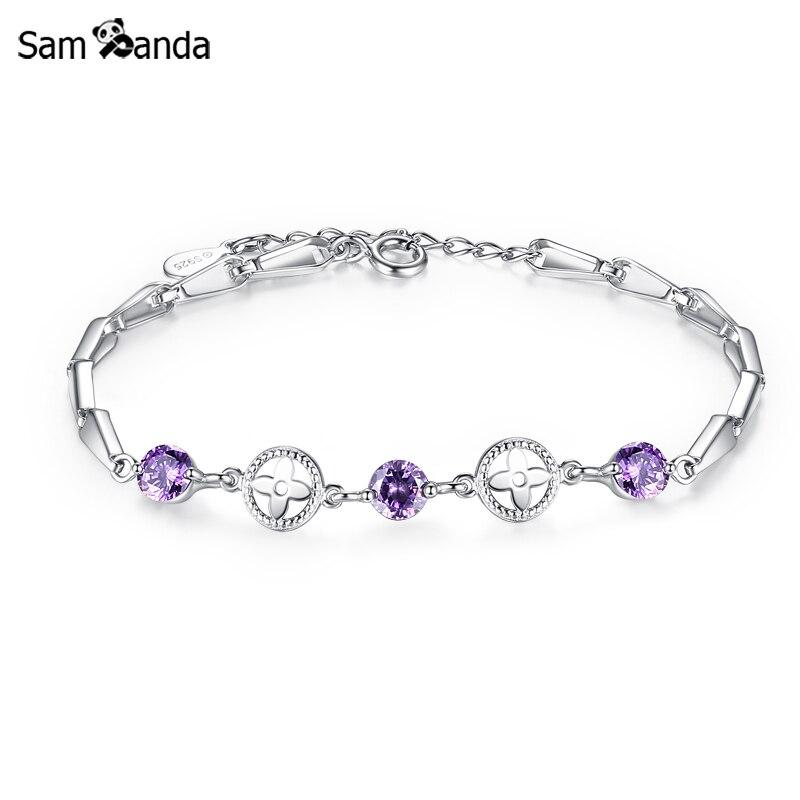 100% 925 Sterling Silver Jewelry Purple Crystal Charm Bead Bracelet Women Clover Flower Friendship Bracelets Gifts Jewelry