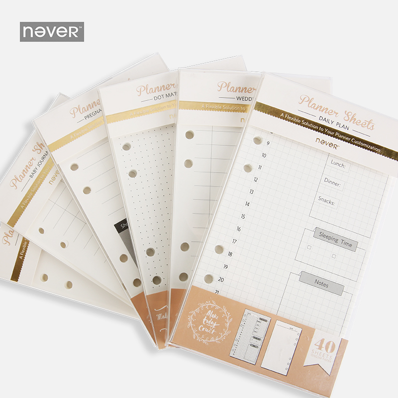 NEVER Spiral Notebook Filler Papers A6 Planner Weekly Plan Grid Dot Line Insert Pages Diary Book Inner core 40 sheets Stationery plan
