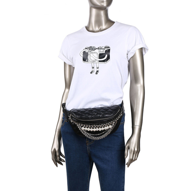 CCRXRQ Waist Bags For Women Brand Fashion Leather Belt Bags Handy Lady Fanny Pack Pearl Chain Belt Pack Chest Bag Female Bananka
