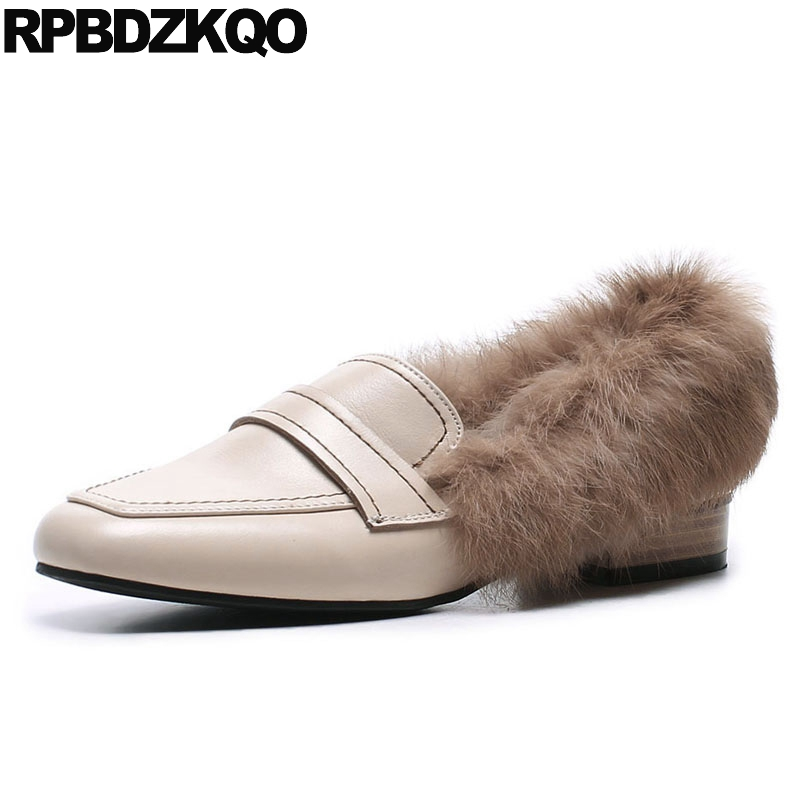 Loafers Cowhide Square Toe Rabbit Vintage Black Ladies Designer Low Heel Slip On Luxury Brand Shoes Women Fur Genuine Leather new designer women fur flats luxury brand slip on loafers zapatillas mujer casual ladies shoes pointed toe sapato feminino black