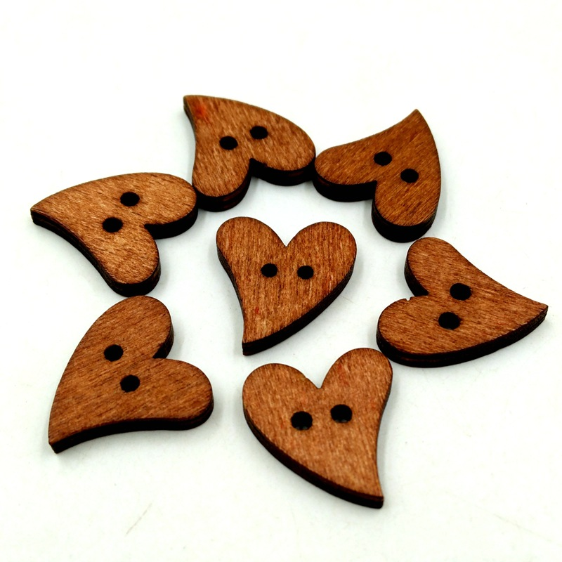 Novel 100pcs 2 Holes Brown Color Wooden Bottons Sewing Craft DIY Heart-shaped Buttons Practical