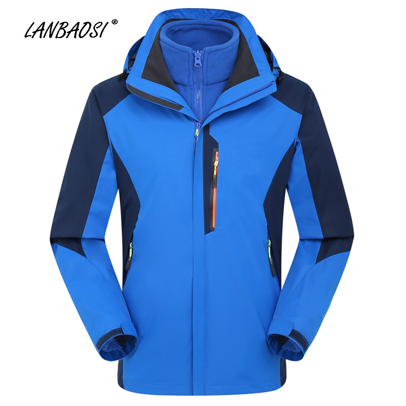 LANBAOSI Mens Women's Windbreaker 3in1 Hooded Jackets Coat Winter Outdoor Sports Hiking Camping Trekking Waterproof Sportwear new men s military style casual fashion canvas outdoor camping travel hooded trench coat outerwear mens army parka long jackets