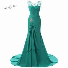 dab84cd35633 Turchese Prom Dresses 2018 Lungo Della Sirena Abiti Da Sera Formale Strass  Partito Chiffon Donne Plus Size Vestido de Festa