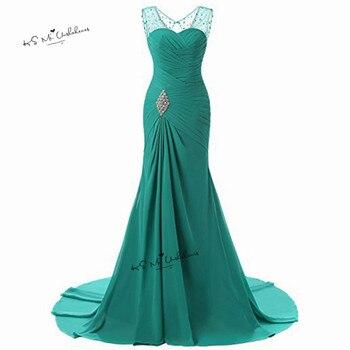 Turquoise Prom Dresses 2018 Long Mermaid Formal Evening Gowns Rhinestones Chiffon Party Women Dress Plus Size Vestido de Festa
