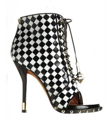 Sexy New Designer Check-Embossed Leather Lace-Up Ankle Boot High Heel Open toe Weave Studded Bootie High Heel Dress Pumps