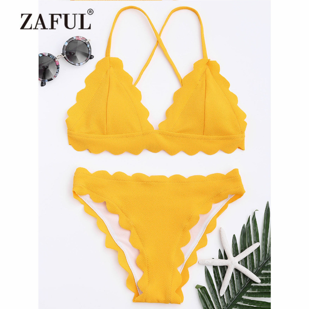ZAFUL Women New Scalloped Criss-cross Bikini Set Swimwear Women Swimsuit Spaghetti Straps Solid Color Summer Beach Bathing Suit summer alluring spaghetti straps sleeveless spliced solid color dress for women