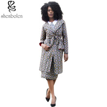 2017 autumn African dresses for women ankara clothing batik wax printing cotton two pieces set long sleeve coat+short skirt suit