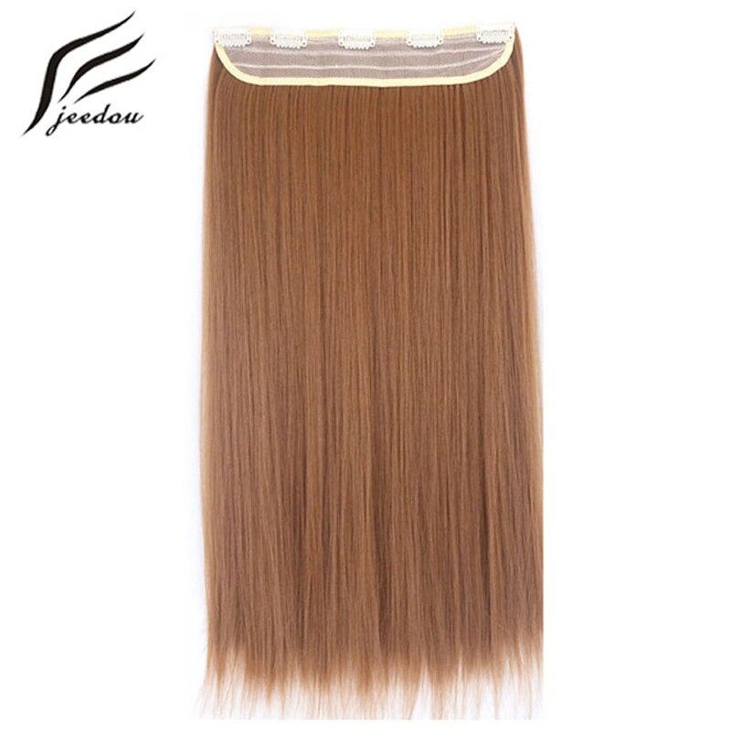 "Jeedou חתיכה אחת 5 קליפים בהארכת שיער 24 ""60 ס""מ ארוך ישר פאה שחור כהה בלונד סינטטי נשים של שווא שיער"