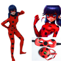 Kids Adult Miraculous Ladybug Cosplay Costume With Blinder Bag Girls Ladybug Marinette Lady Ladybug Tight Jumpsuit