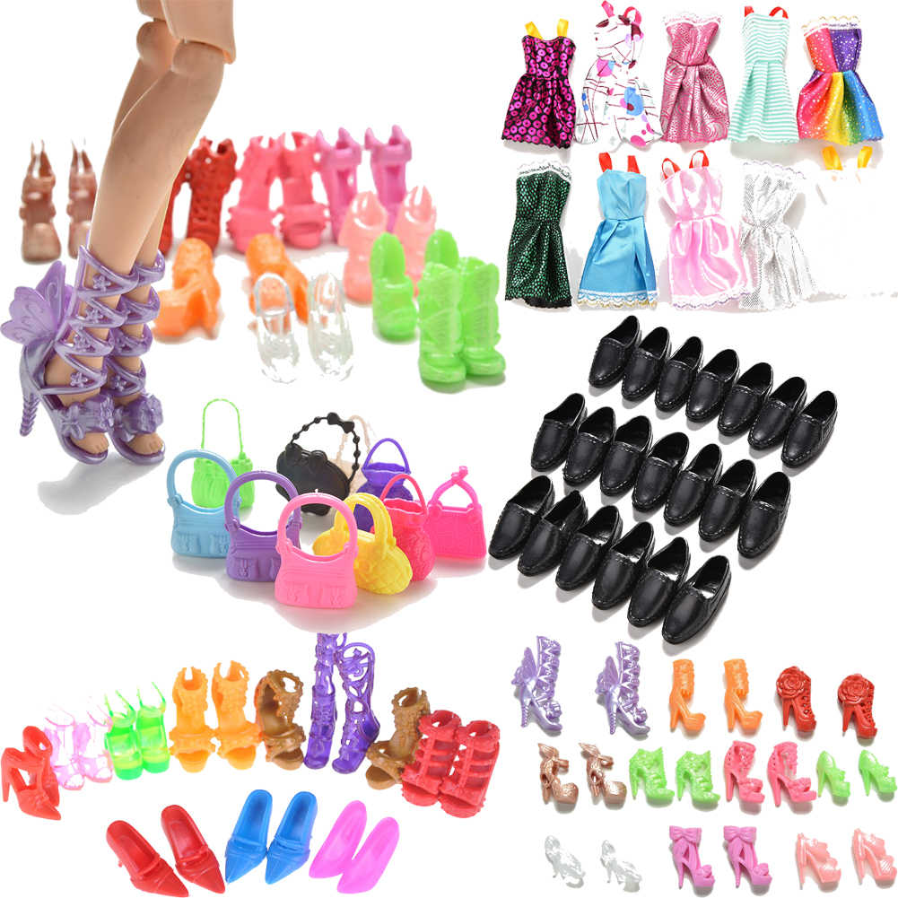 10 Pairs Assorted Fashion Colorful Mixed Style Sandals High Heels Shoes/Doll Bag For Doll Accessories Clothes Dress Toy Random