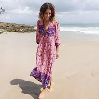 2017 Summer Tribe Style V Neck Bohemian Floral Print Long Sleeve Boho Dress Women Gypsy Ethnic