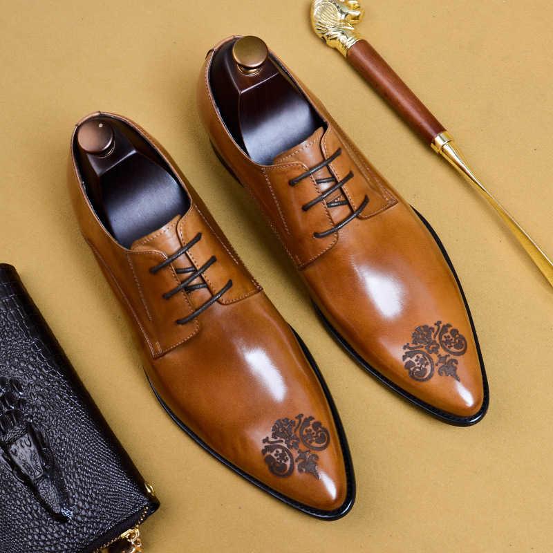 Zapatos de cuero para Hombre Zapatos oxford de cuero genuino para hombres vestido de lujo slipon boda zapatos de cuero brogues hebilla