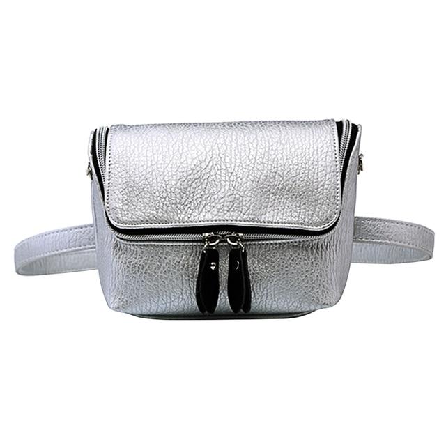 Lady PU Leather Waist Bag Causal Belt Bag Waterproof Shoulder Bag Lichee Pattern Crossbody Bag Silver