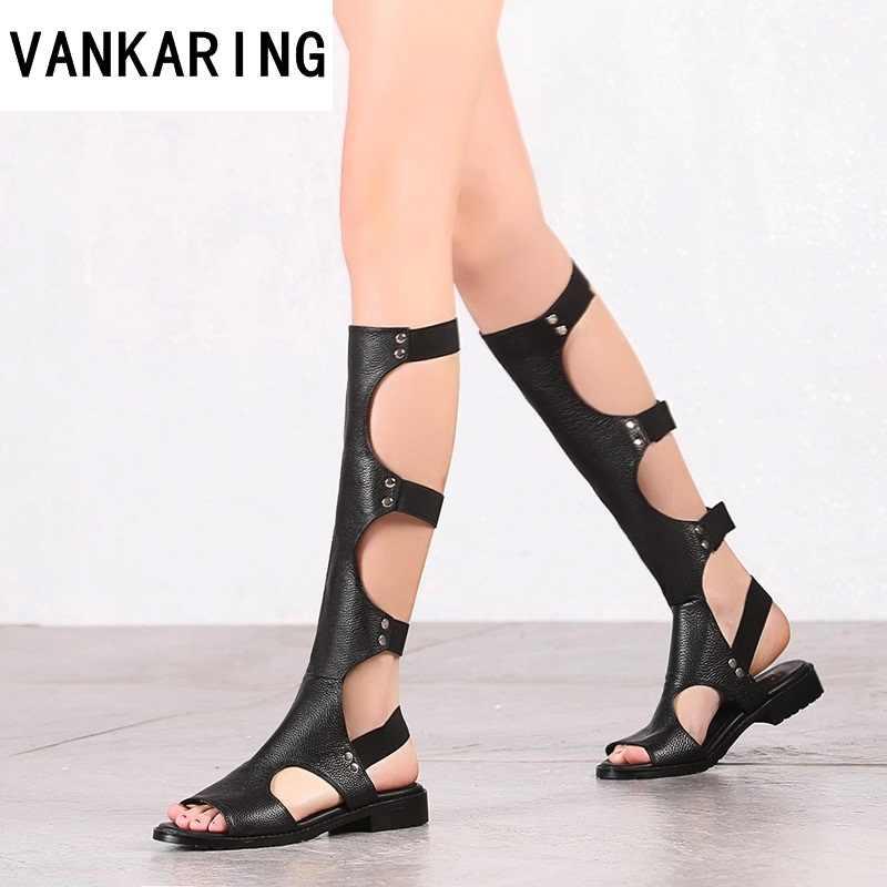 Klasik tasarım moda gladyatör yaz sandalet kadın diz yüksek çizmeler bayanlar seksi kesimler siyah çizmeler deri elbise ayakkabı kadın