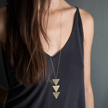 Long Chain Metallic Glossy Triangle Geometry One Piece Pendant Necklace hot - selling jewelry gifts Free shipping