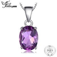Women Natural High Quality 1 7ct Amethyst Pendants Oval Cut Genuine Solid 925 Sterling Silver Fashion
