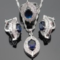 Blue Created Sapphire White Topaz Jewelry Sets Silver Color Earrings/Pendant/Necklace/Rings For Women Free Box Made in China