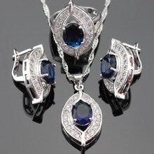 Azul Creado Zafiro Topacio Blanco Color de Sistemas de la Joyería de Plata Pendientes/Colgante/Collar/Anillos Para Las Mujeres Del Envío Caja hecho en China