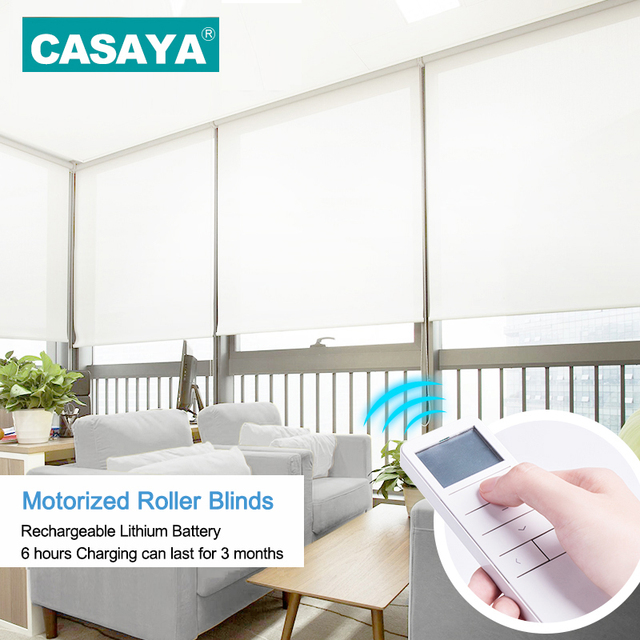 customized size electric roller shades horizontal cordless window curtains tubular motor intelligent motorized roller blinds - Motorized Roller Shades