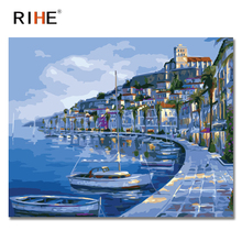 RIHE Lakeside House Diy Painting By Numbers Abstract Boat Oil On Canvas Cuadros Decoracion Acrylic Wall Picture 40X50CM